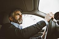Austria, Vienna, portrait of man driving car - AIF000231