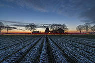 Germany, Gifhorn, Meine, wind mill in winter, field with snow - PVCF000739