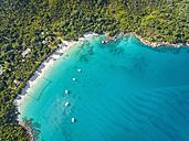 Seychelles, Praslin, Anse Lazio, beach and fishing net, aerial view - FOF008373