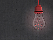 Lightbulb with red heart in front of concrete wall, 3d rendering - AHUF000081