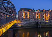 Germany, Hamburg, Old Warehouse District at night - KRPF001702