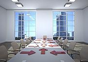 3d illustration, Business room, arrows on table - ALF000669