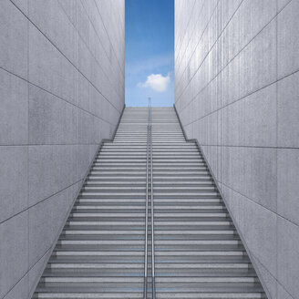 Staircase in a building leading to the sky, 3d rendering - UWF000750