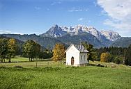Austria, Salzburg State, Pongau, Werfenweng, Chapel, Hochkoenig in the background - WWF003925