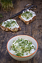 Bowl of organic curd and cress - LVF004445