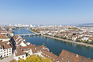 Switzerland, Basel, city and Rhine River as seen from Basel Minster - GWF004576