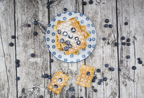 Plate of waffles with icing sugar and blueberries - LVF004452