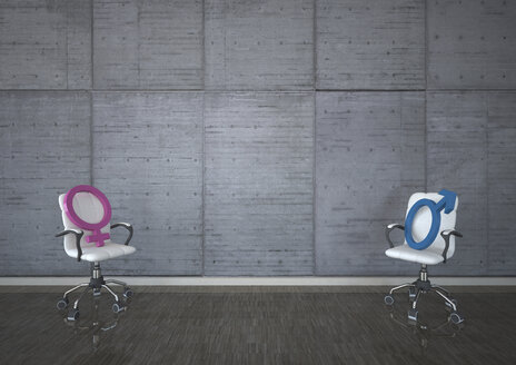 Swivel chairs with mars and venus signs against concrete wall - ALF000673