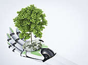3D Rendering, robot hand holding tree - AHUF000098