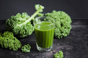 Glass of kale smoothie with different fruits - CZF000241
