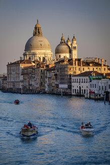 Italy, Veneto, Venice, Canal and Santa Maria della Salute in the evening - HAMF000131