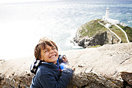 UK, Anglesey, portrait of little boy pouting mouth - VABF000086