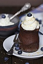 Chocolate cake in a glass with whipped cream, cane sugar and blueberries - YFF000520