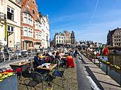Belgium, East Flanders, Ghent, Cafe on Korenlei, Leie river - AM004697
