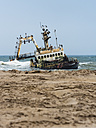 Namibia, Dorob National Park, Henties Bay, ship wreck of stranded Zeila - AMF004711