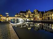 Belgium, Ghent, Korenlei and Graslei with St. Nicholas' Church and St. Michael Bridge at night - AMF004717