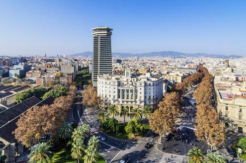 Spain, Barcelona, cityscape as seen from Columbus column - THAF001563
