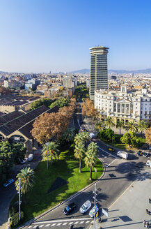 Spain, Barcelona, cityscape as seen from Columbus column with Ramblas - THAF001569