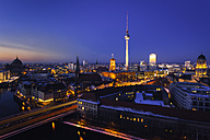 Germany, Berlin, Berlin-Mitte, panorama, cityscape, blue hour - ZMF000455
