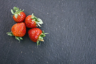 Four strawberries on slate - ABZF000182