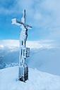 Austria, Salzburg State, summit cross on Sonntagshorn in winter - HAMF000140