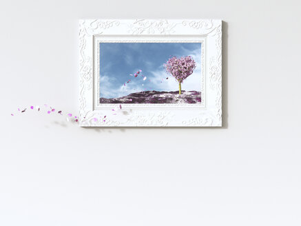 Leaves falling from heart-shaped tree in picture frame, 3d rendering - AHUF000100