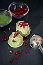 Homemade Matcha ice cream with pomegranate seeds - SARF002501