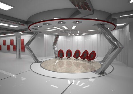 Futuristic room with five red swivel chairs, 3D Rendering - ALF000677