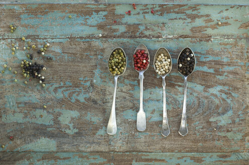 Row of four silver spoons with different sorts of peppercorns - ASF005833