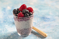 Glass of chia pudding with blueberries and raspberries - SARF002510