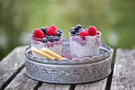 Two glasses of chia pudding with blueberries and raspberries on metal tray - SARF002513
