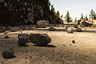 USA, Washington, Seattle, Mount Rainier National Park, stones on mountain road - NGF000257