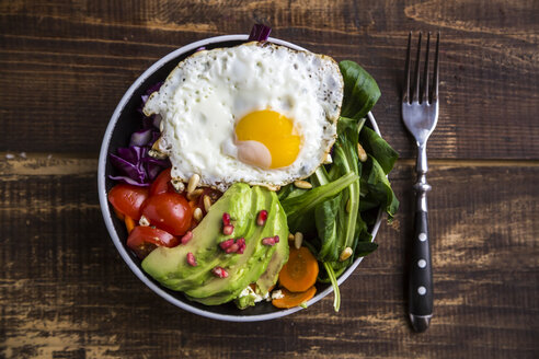 Bowl with red cabbage, lamb's lettuce, carrot, tomato, avocado, fried egg, pine nut, feta cheese and pomegranate seeds, vegetarian - SARF002523