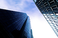 Germany, Frankfurt, facades of two office towers seen from below - PUF000471