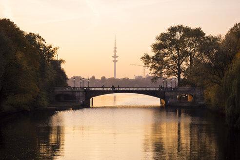 Germany, Hamburg, Heinrich-Hertz Tower at sunset, Outer Alster Lake - KRPF001715