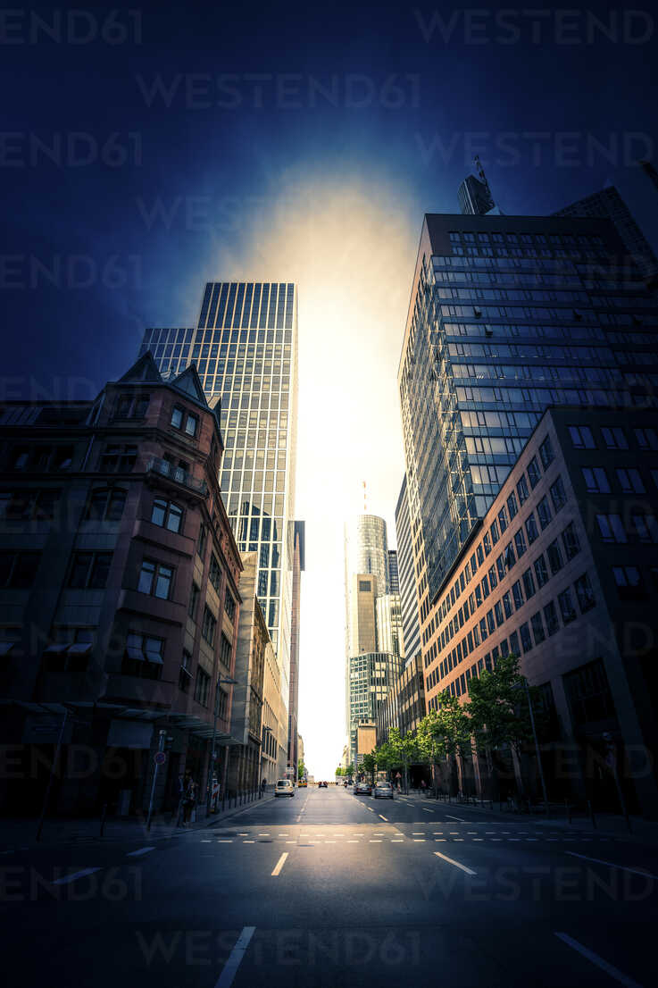 Germany, Frankfurt, view to empty street with Maintower in the background - PUF000475 - pure.passion.photography/Westend61