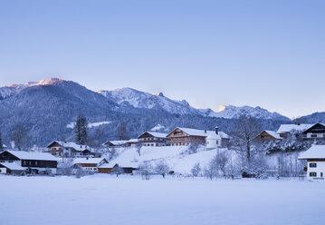 Germany, Upper Bavaria, Lenggries, view to Brauneck, Latschenkopf and Benediktenwand - SIEF006937