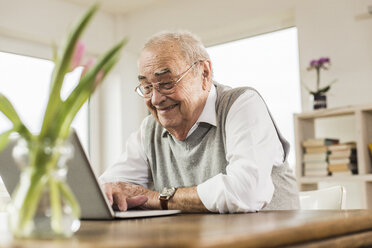 Portrait of happy senior man using laptop at home - UUF006568