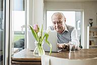 Portrait of senior man using laptop at home - UUF006607