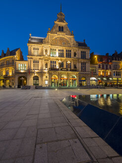 Belgium, Ghent, Sint-Baafsplein with theater at dusk - AMF004765