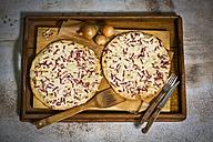 Alsatian tarte flambee, wooden tray - MAEF011254