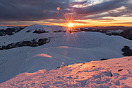 Italy, Umbria, Monti Sibillini National Park, Sunset on Apennines in Winter - LOMF000218