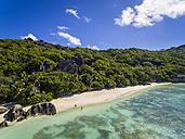 Seychelles, La Digue Island, Anse Source D'Argent, Aerial view of beach - FOF008405