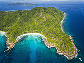 Seychelles, La Digue, View of the Anse Cocos beach, aerial view - FOF008408