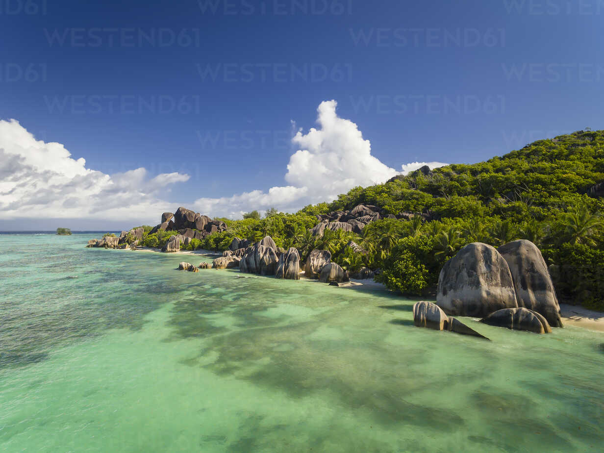 Seychelles, La Digue Island, Anse Source D'Argent, Aerial view of beach - FOF008411 - Fotofeeling/Westend61