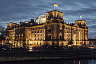 Germany, Berlin, view to lighted Reichstag in the evening - ZMF000456
