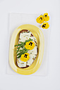 Slice of bread garnished with Pecorino cheese, rocket and pansies - GWF004621