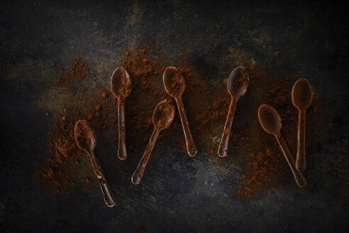 Seven chocolate spoons sprinkled with cocoa - KSWF001740