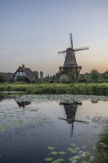 Germany, Gifhorn, Museum, International Wind- and Watermill Museum in the evening - PVC000763