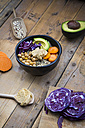 Bowl of quinoa, avocado, roasted chick-peas, sweet potato, red cabbage and hummus - LVF004537